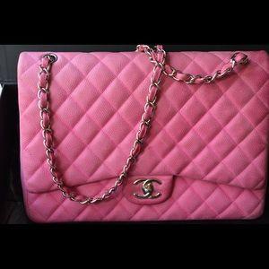 "CHANEL ""Maxi"" double flap pink matte caviar bag"